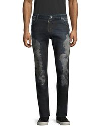 Just Cavalli Leather Patch Faded Jeans - Blue
