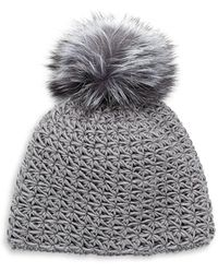 Surell Fox Fur Pom-pom Hat - Grey