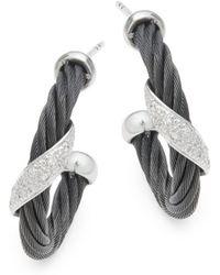 Alor - 18k White Gold & Sterling Silver Diamond Studded Earrings - Lyst
