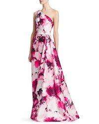 THEIA One-shoulder Floral Printed Gown - Pink