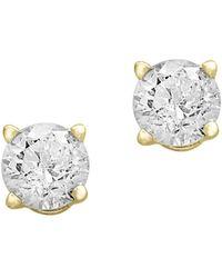 Effy - Round Diamond & Yellow Gold Stud Earrings - Lyst