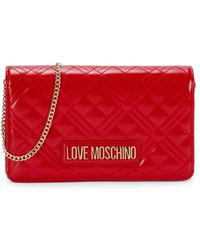 Love Moschino Women's Mini Quilted Faux Leather Crossbody Bag - Red