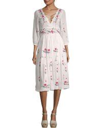 Raga - Sammy Floral Midi Peasant Dress - Lyst