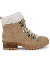 Marc Fisher Shearling-trim Suede Winter Boots - Natural