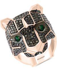 Effy 14k Rose Gold, Black Diamond & Emerald Ring