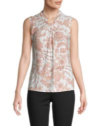 Tommy Hilfiger Floral-print Sleeveless Top - Pink