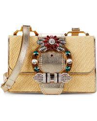 Miu Miu Embellished Raffia & Leather Shoulder Bag - Natural