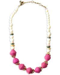 Akola Sobaida Goldtone, Cow Bone, Recycled Glass & Raffia Beaded Necklace - Multicolour