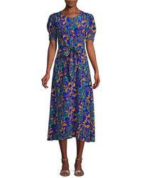 Saloni Women's Lea Leaf-print A-line Midi Dress - Azure Berry - Size 2 - Blue
