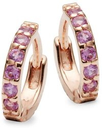Danni - Pink Sapphire And 14k Rose Gold Huggie Earrings - Lyst