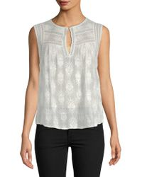Rebecca Taylor - Selina Embroidered Sleeveless Silk Top - Lyst