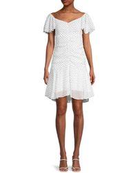 4si3nna Marley Polka-dot Ruched A-line Dress - White
