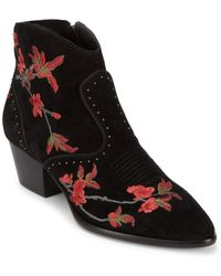 Ash - Heidi Embroidered Suede Booties - Lyst