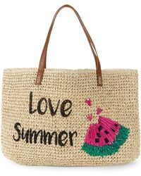 Marabelle - Embroidered Love Summer Paper Straw Graphic Tote - Lyst