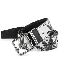 Dolce & Gabbana - Reversible Printed Leather Belt - Lyst