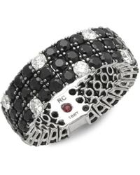Roberto Coin - Diamond, Black Sapphire, Ruby And 18k White Gold Ring - Lyst