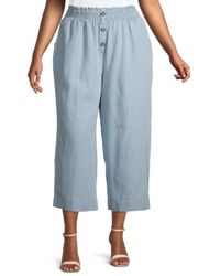 C&C California Women's Plus Julia Stripe Cropped Wide-leg Pants - Blue - Size 2x (18-20)