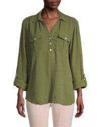 Karen Kane Women's Utility Roll-tab Shirt - Forest Green - Size Xs