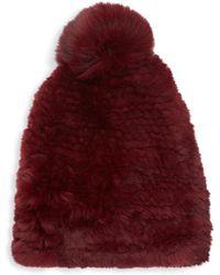 Saks Fifth Avenue Dyed Rabbit & Fox Fur Beanie - Red