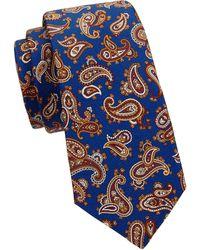 Kiton Paisley Silk Tie - Blue