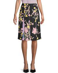 Diane von Furstenberg Floral Pleated Skirt - Black