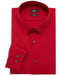 BOSS by HUGO BOSS Isko Slim-fit Dress Shirt - Red