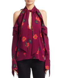 Tanya Taylor Adrienne Floral Silk Cold Shouldertop - Multicolour