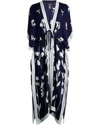 Karl Lagerfeld Women's Floral-print Ruana - Navy - Blue