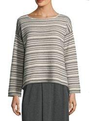 Eileen Fisher - Striped Cotton-blend Jumper - Lyst