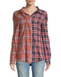 R13 Off-shoulder Two-tone Plaid Shirt - Multicolour