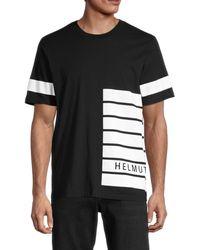 Helmut Lang Men's Striped Logo T-shirt - Navy - Size L - Blue