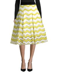 MILLY - Chevron Inverted Pleat Skirt - Lyst