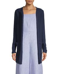 Pure Navy Hooded Cotton Slub Cardigan - Blue