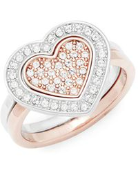Swarovski - Set Of Two Crystal Stackable Ring - Lyst