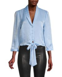 Laundry by Shelli Segal Women's Knot-front Puffed-sleeve Top - Blue Bell - Size L