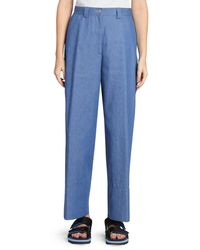 Dries Van Noten Wide-leg Cuffed Denim Trousers - Blue