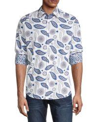 Robert Graham Men's Pinehill Paisley-print Shirt - White - Size S