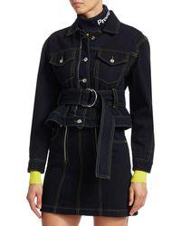 Proenza Schouler D-ring Belted Denim Jacket - Blue