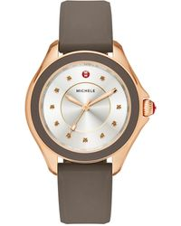 Michele Cape Smokey Quartz, Rose Goldtone Stainless Steel & Silicone Strap Watch/taupe - Multicolor