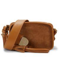 Santoni Camilla C40 Suede & Leather Shoulder Bag - Brown