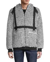 Karl Lagerfeld Faux Shearling Zip Hoodie - Multicolour