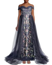 Marchesa Floral Embroidered Tulle Gown - Blue