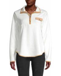 C&C California Women's Zip-neck Long-sleeve Top - Samba Black - Size M - White