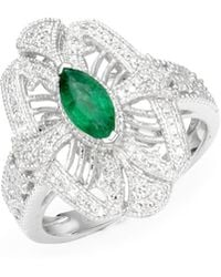 Effy - 14k White Gold Diamonds & Emerald Ring - Lyst
