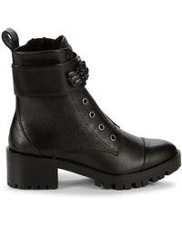 Karl Lagerfeld Textured Side-zip Booties - Black