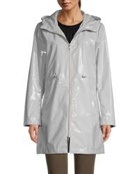Jane Post Iconic Faux Leather Hooded Parka - Grey