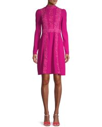 Giambattista Valli Lace-trim A-line Dress - Pink