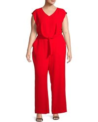 Vince Camuto Tie Front Jumpsuit (plus Size) - Red
