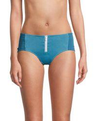 Chaser Zippered Bikini Bottom - Blue