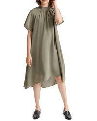Club Monaco Silk Trapeze Dress - Green